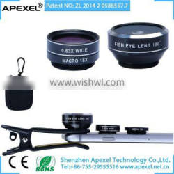 Universal clip phone lens 3 in 1 wide angle macro fisheye lens kit for iPhone 6s