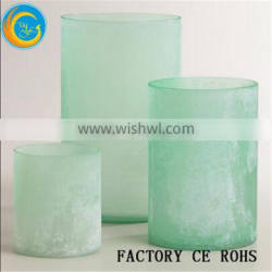 Frost Paragon Candle Lamp / Glass Votive Holder Green / Hurricane Candleholders For Wedding Gift