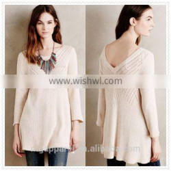 wholesale china OEM ribbed long sleeve swing sweater cotton knit tunic tops for women