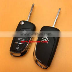 Original Citroen 3 button modified flip remote key blank key shell with NE73 206 Blade and battery place used for New DS remote