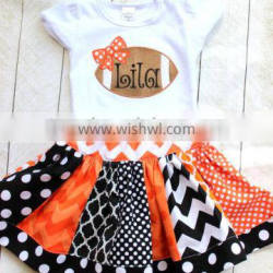 Girls football outfit football fall skirt set orange and black outfit