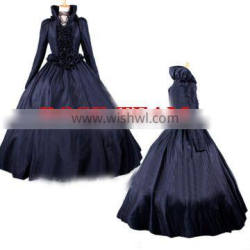 Rose Team-Free Shipping Custom-made Elegant Black Victorian Dress Costume Gothic Dress Ball Gown w/ Cloak