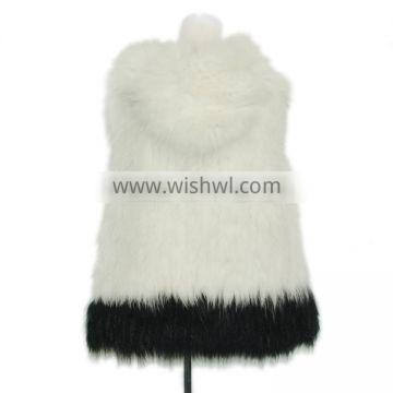 White raccoon fur vest knitted casual fur vest with hoodie,KZ14125