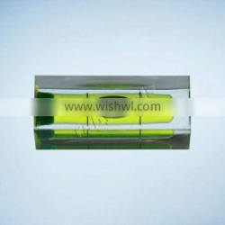 Square bubble level with circular level vial RB-BV151540