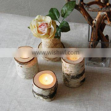 Home Decor Wood Candles.Tree Branch Candleholders Set Of 3, Wooden Tealight Holders