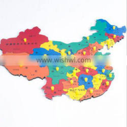 Good quality laser cutting Montessori wooden puzzle maple world map with best selling