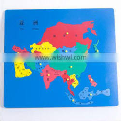 Best selling laser cutting Montessori wooden puzzle maple world map with good quality