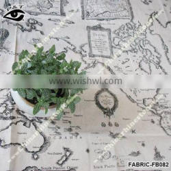 New World Map Fabric Map Pattern Linen Fabric For Tablecloth sofa decorations