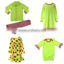 2016 lime green red striped ruffle baby pajamas set night dress gown kids children christmas clothing holiday siblings pajamas
