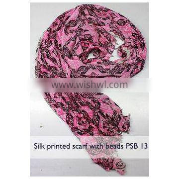 Soft Printed Wool scarf made up of pure wool Printed Wool Scarf The grid of pink