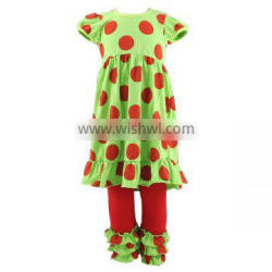 2016 fashion baby girl christmas outfit childrens boutique clothing winter remake polka dot outfits girl