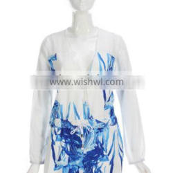 Wholesale Printed V-Neck Short Playsuit with Long Sleeve