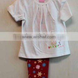 Wholesale Simply Style Baby Girls 2 Pcs Set Short Sleeve White Top + Long Pant Knitted Summer Clothing Set TP-7716