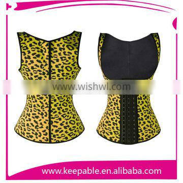 Keepable New Strapless Zipper Leopard Latex Rubber Corset for back support