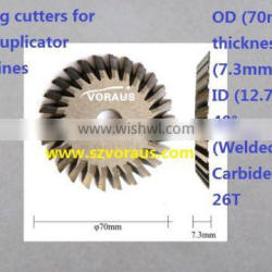 Milling cutters for key-duplicator machines OD (70mm) thickness (7.3mm) ID (12.7mm) 40 (Welded-Carbide