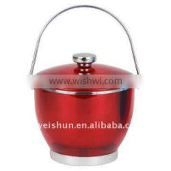 colorful double stainless steel ice bucket with lid