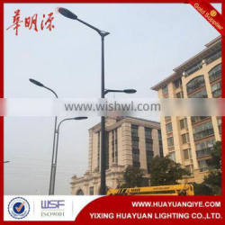 Double arm square light pole sample, galvanized street light pole with powder coating