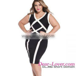 Plus Size Cross western holiday Colorblock party dresses for fat girls