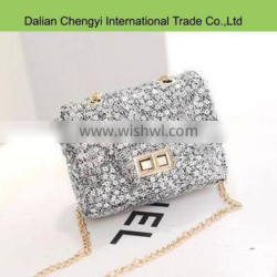 Wholesale women small paillette sling evening bag with chain strap