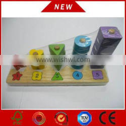 2015 Top Sell toy block digits matching blocks wooden stacker