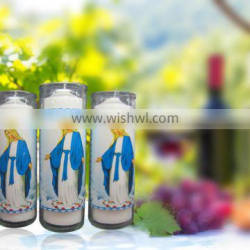 7 days burning church candles in glass