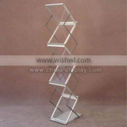 Aluminum silver acrylic paper brochure catalog holder stand