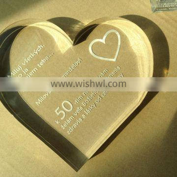 Heart Shape Crystal Gift Personalized Picture artwork Laser acrylic block
