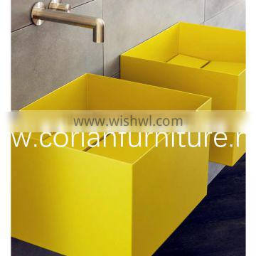 100% acrylic solid surface colorful corian made bathroom vanity