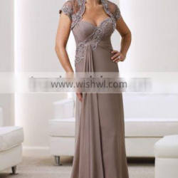 Elegant and Beautiful Mother of the Bride Dress with Short Sleeve Jacket and Appliques High Quality Mother of the Bride Dress