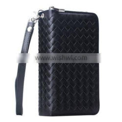 Weave PU Leather Wallet Mobile Phone Cover For Iphone 6Plus