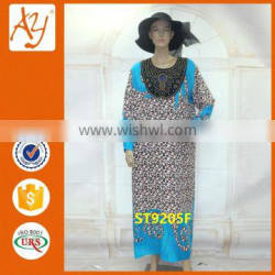 Women long sleeve maxi dress design african stone work printed embellished kaftans