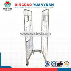 Logistics 2 sided logistics roll container pallet warehouse containers storage cage with wheels metal trolley