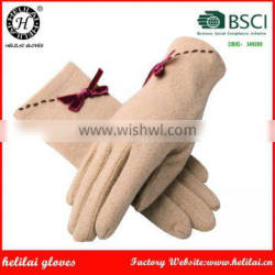 Helilai Factory Ladies Candy Colors Wool GLoves With Bows on the Back Women Wool Gloves
