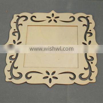square shaped cheap unfinished mini funny plywood photo picture frame