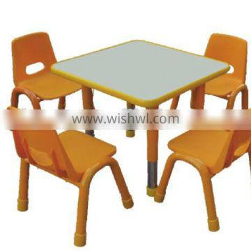 Height adjustable kids table and chair set for kindergarten
