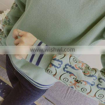 2016 o-neck textile printing long sleeved cashmere hoodies sweater