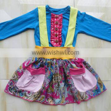 2015 new product baby dress suit long sleeve top and pocket suspender skirt YW-010