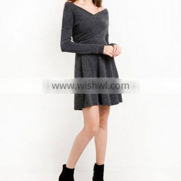 Grey Criss Cross Off The Shoulder Kint Fit And Flare Winter Women Dress Names Of Girls Dresses Wholesale Clothing Market HSD5691