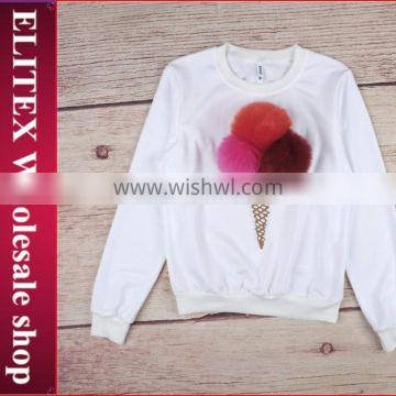 Wholesale white ice cream fur decorated fashion woman sweatshirt
