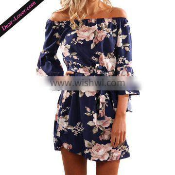 New Arrival Long Sleeve Fashion Off Shoulder New Ladies Dress