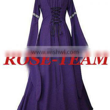 Rose Team-Free Shipping Custom-made Indigo Dress Victorian Medieval Dress Sexy Carnival Halloween Costume