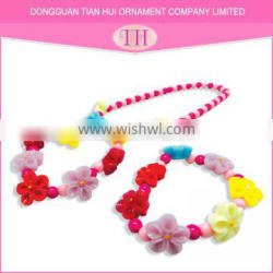 2016 Best selling personalized girls' new designer bracelet charm necklace color flower set jewelry