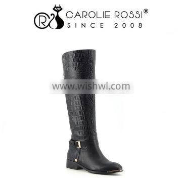 Aliexpress china footwear black military boots pu cowboy boots for women