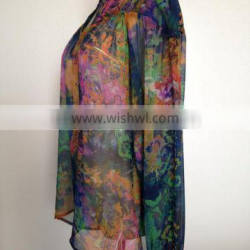 Hand printed small square silk cheap cashmere scarf