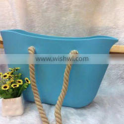 Silicone Tote Beach Bag, With Cotton Rope Handles