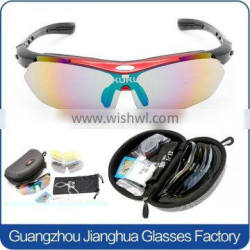 Hot selling promotional glasses UV400 removeable 5 lens cycling sunglasses with strap
