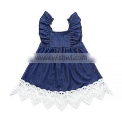 Hot sale kids clothing boutique dress lace ruffle dress for baby girl infant toddler dress girls denim skirt flutter denim dress