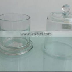 wholesale clear glass bell jar with base and round knob