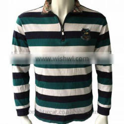 Men's striped classic long sleeve polo shirt America college style