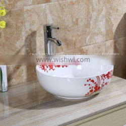 Wholesale above counter ceramic hand painted fancy modern round bathroom art basin sinks